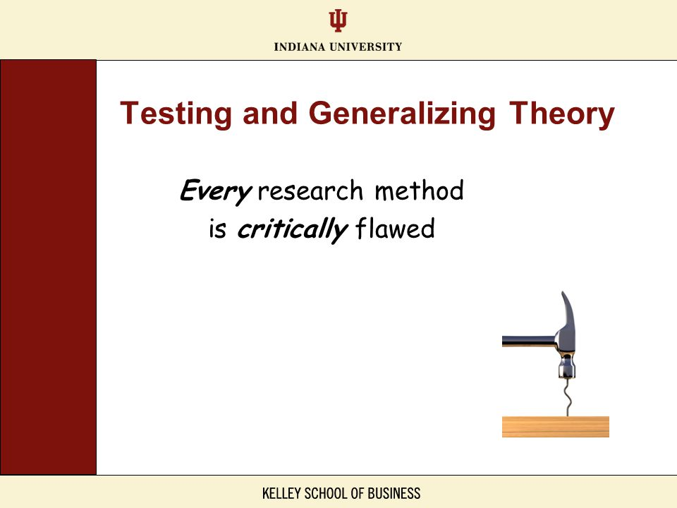 Every research method is critically flawed Testing and Generalizing Theory