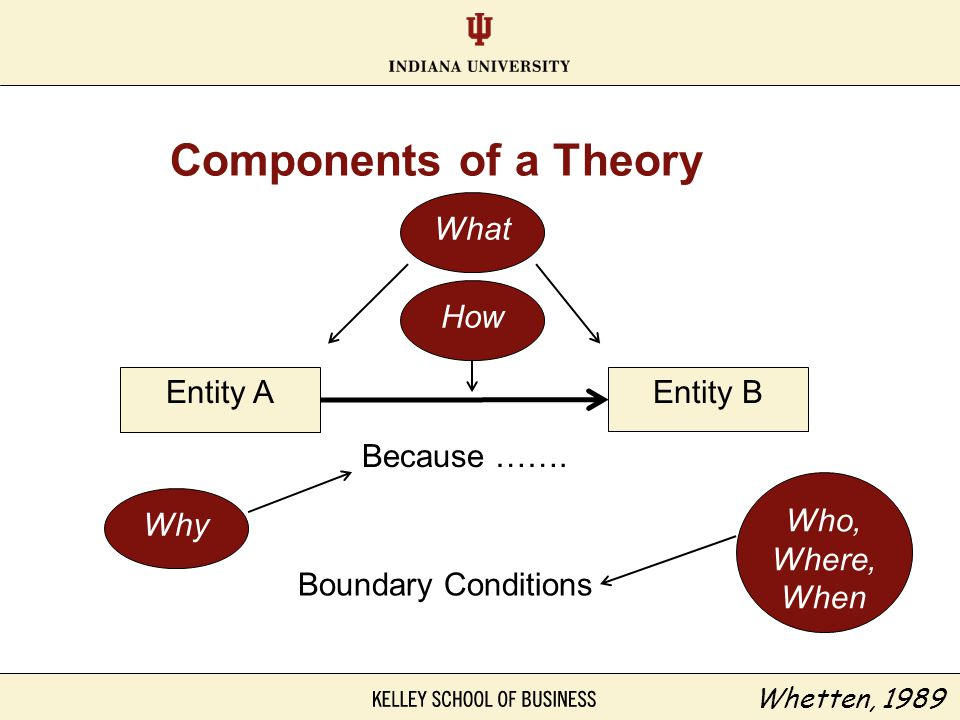 Components of a Theory Entity AEntity B Because ……. Boundary Conditions What How Why Who, Where, When Whetten, 1989