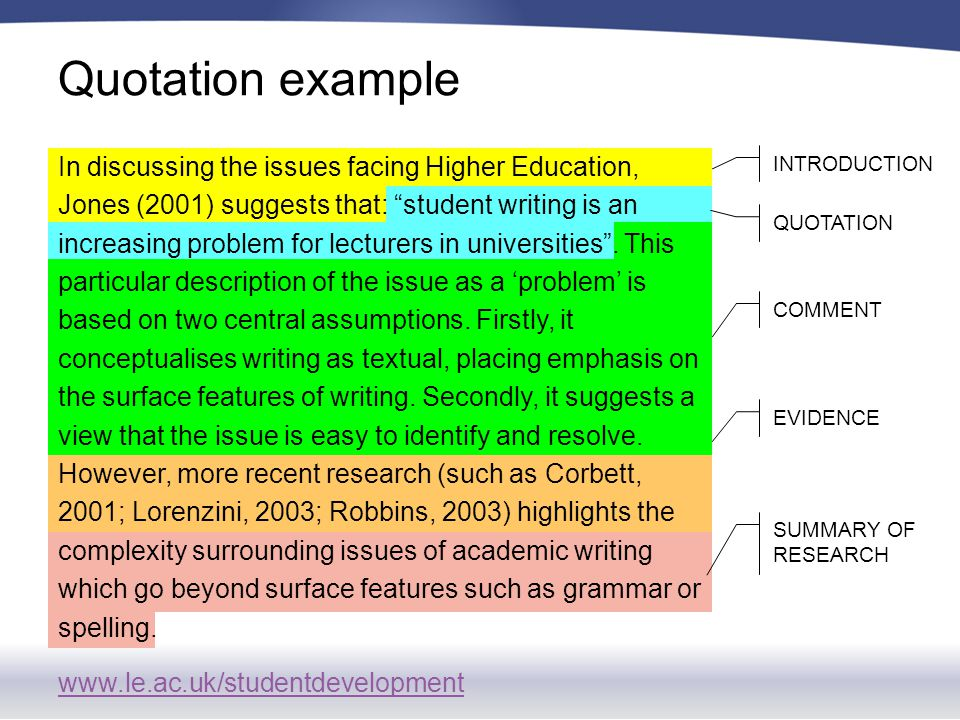 www.le.ac.uk/studentdevelopment In discussing the issues facing Higher Education, Jones (2001) suggests that: student writing is an increasing problem for lecturers in universities .
