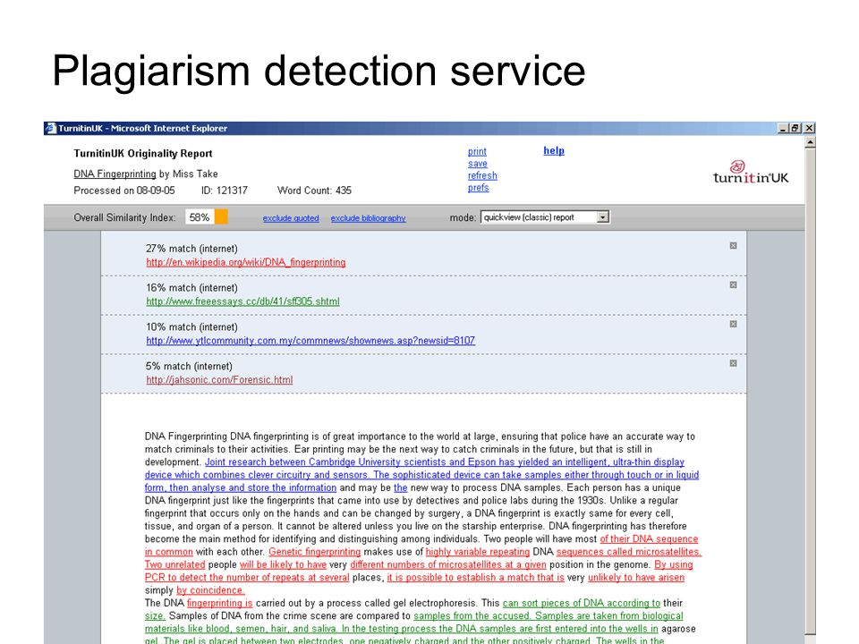 Plagiarism detection service