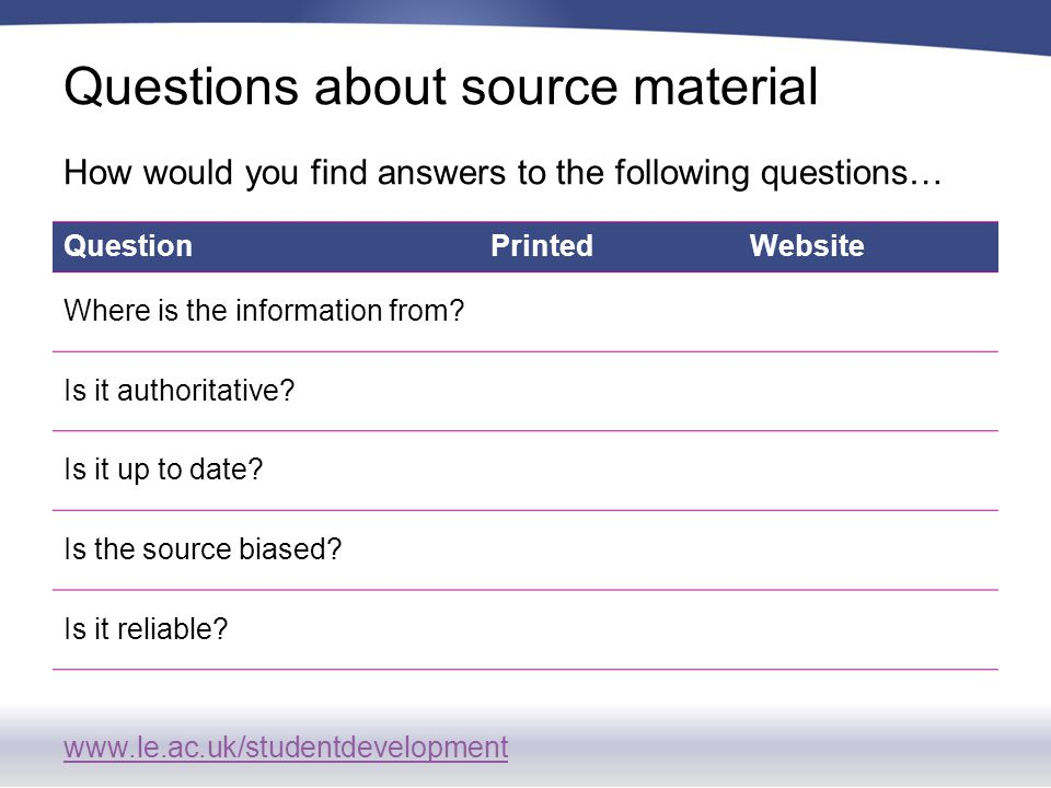 www.le.ac.uk/studentdevelopment Questions about source material QuestionPrintedWebsite Where is the information from.