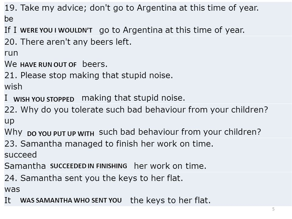 5 19.Take my advice; don t go to Argentina at this time of year.