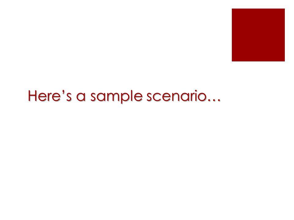 Here's a sample scenario…