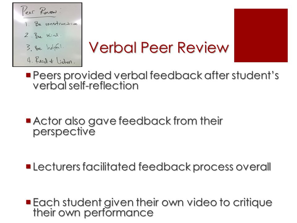 Verbal Peer Review  Peers provided verbal feedback after student's verbal self-reflection  Actor also gave feedback from their perspective  Lecturers facilitated feedback process overall  Each student given their own video to critique their own performance