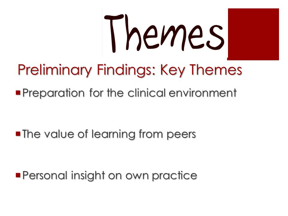 Preliminary Findings: Key Themes  Preparation for the clinical environment  The value of learning from peers  Personal insight on own practice