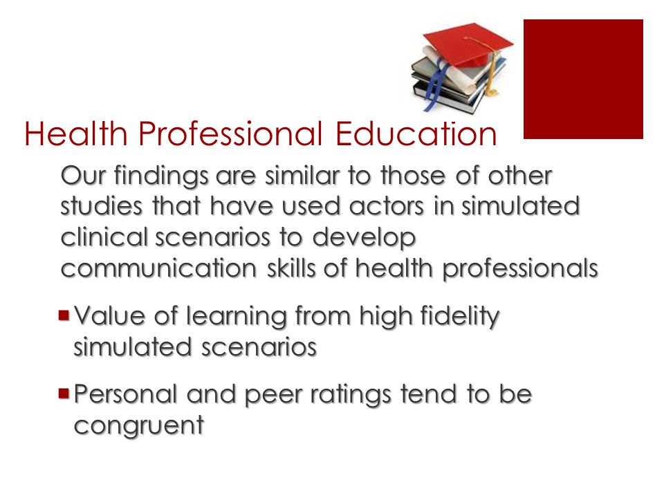 Health Professional Education Our findings are similar to those of other studies that have used actors in simulated clinical scenarios to develop communication skills of health professionals  Value of learning from high fidelity simulated scenarios  Personal and peer ratings tend to be congruent