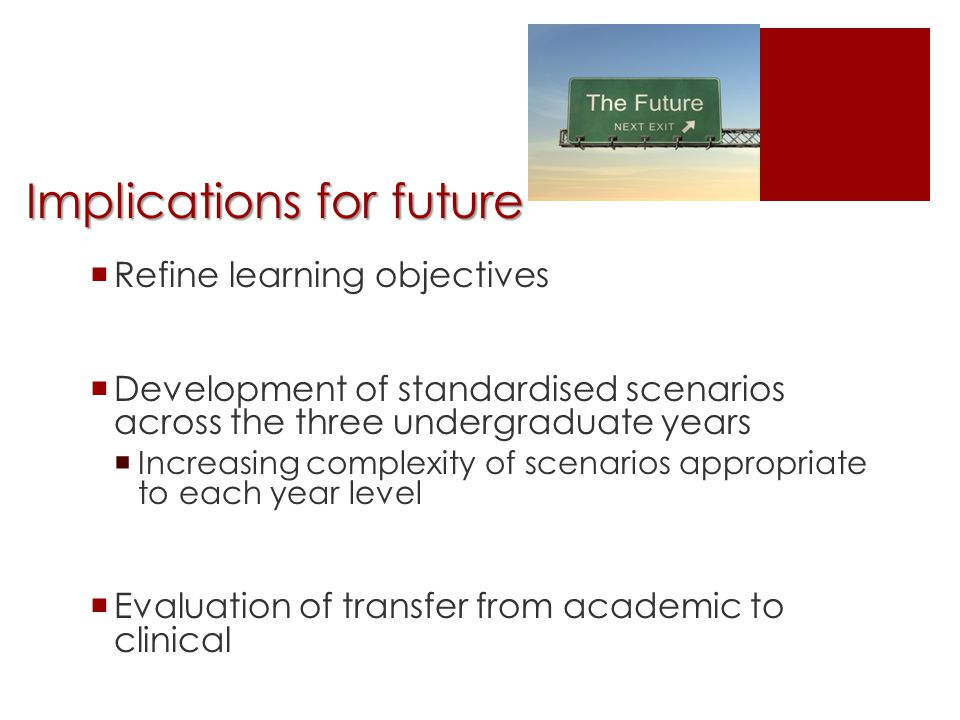Implications for future  Refine learning objectives  Development of standardised scenarios across the three undergraduate years  Increasing complexity of scenarios appropriate to each year level  Evaluation of transfer from academic to clinical