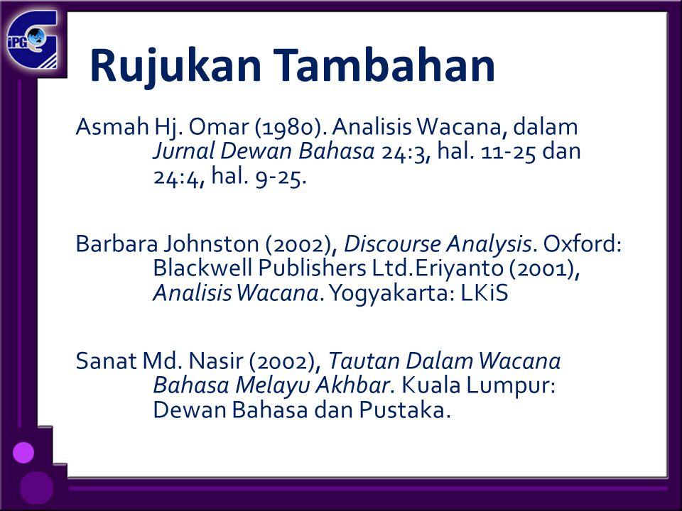 Rujukan Tambahan Asmah Hj. Omar (1980). Analisis Wacana, dalam Jurnal Dewan Bahasa 24:3, hal. 11-25 dan 24:4, hal. 9-25. Barbara Johnston (2002), Disc