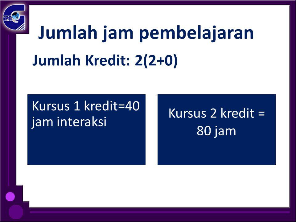 Jumlah jam pembelajaran Kursus 1 kredit=40 jam interaksi Kursus 2 kredit = 80 jam Jumlah Kredit: 2(2+0)