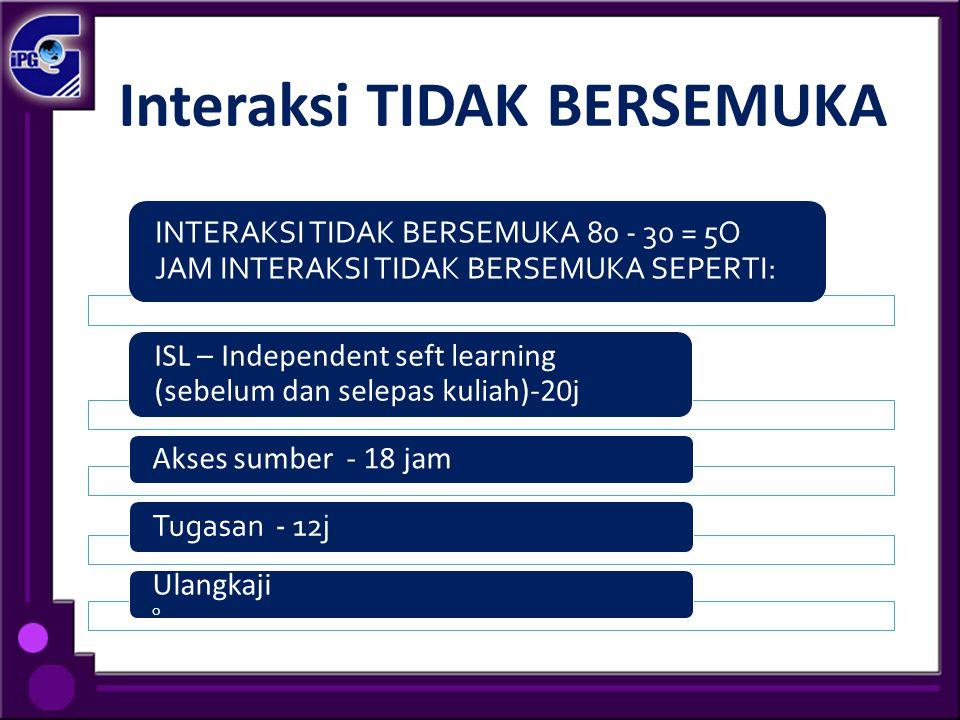 Interaksi TIDAK BERSEMUKA INTERAKSI TIDAK BERSEMUKA 80 - 30 = 5O JAM INTERAKSI TIDAK BERSEMUKA SEPERTI: ISL – Independent seft learning (sebelum dan s