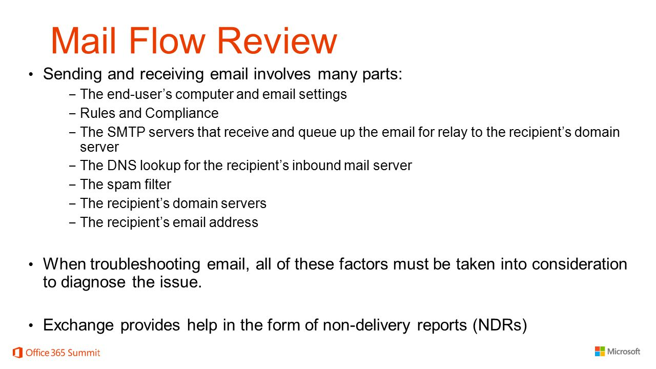 Mail Flow Review Sending and receiving email involves many parts: − The end-user's computer and email settings − Rules and Compliance − The SMTP serve