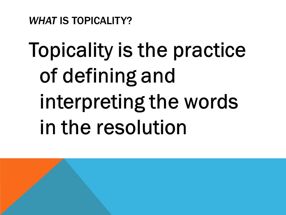 WHEN SHOULD I READ TOPICALITY.