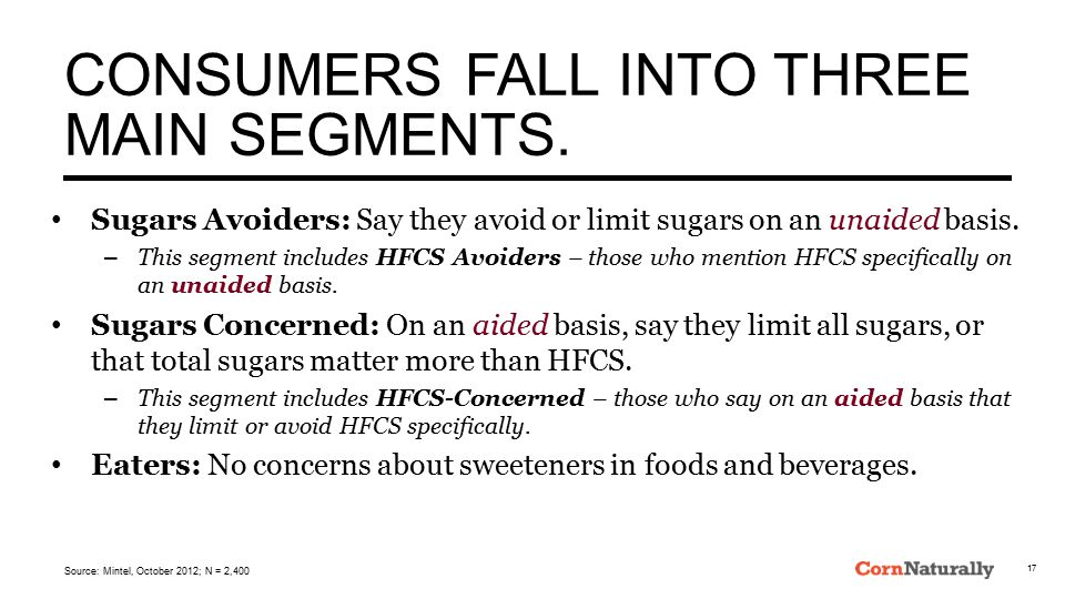 CONSUMERS FALL INTO THREE MAIN SEGMENTS. Sugars Avoiders: Say they avoid or limit sugars on an unaided basis. – This segment includes HFCS Avoiders –