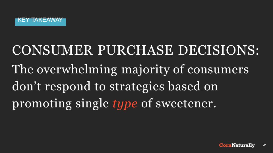 KEY TAKEAWAY CONSUMER PURCHASE DECISIONS: 42 The overwhelming majority of consumers don't respond to strategies based on promoting single type of sweetener.