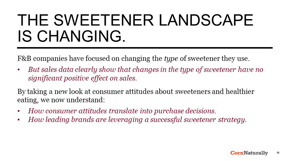 THE SWEETENER LANDSCAPE IS CHANGING.
