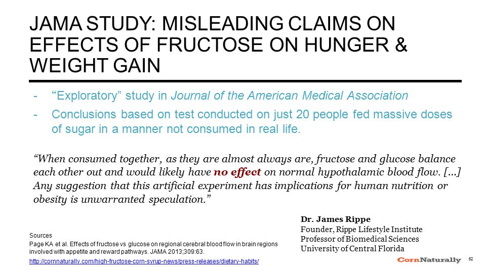 JAMA STUDY: MISLEADING CLAIMS ON EFFECTS OF FRUCTOSE ON HUNGER & WEIGHT GAIN - Exploratory study in Journal of the American Medical Association - Conclusions based on test conducted on just 20 people fed massive doses of sugar in a manner not consumed in real life.