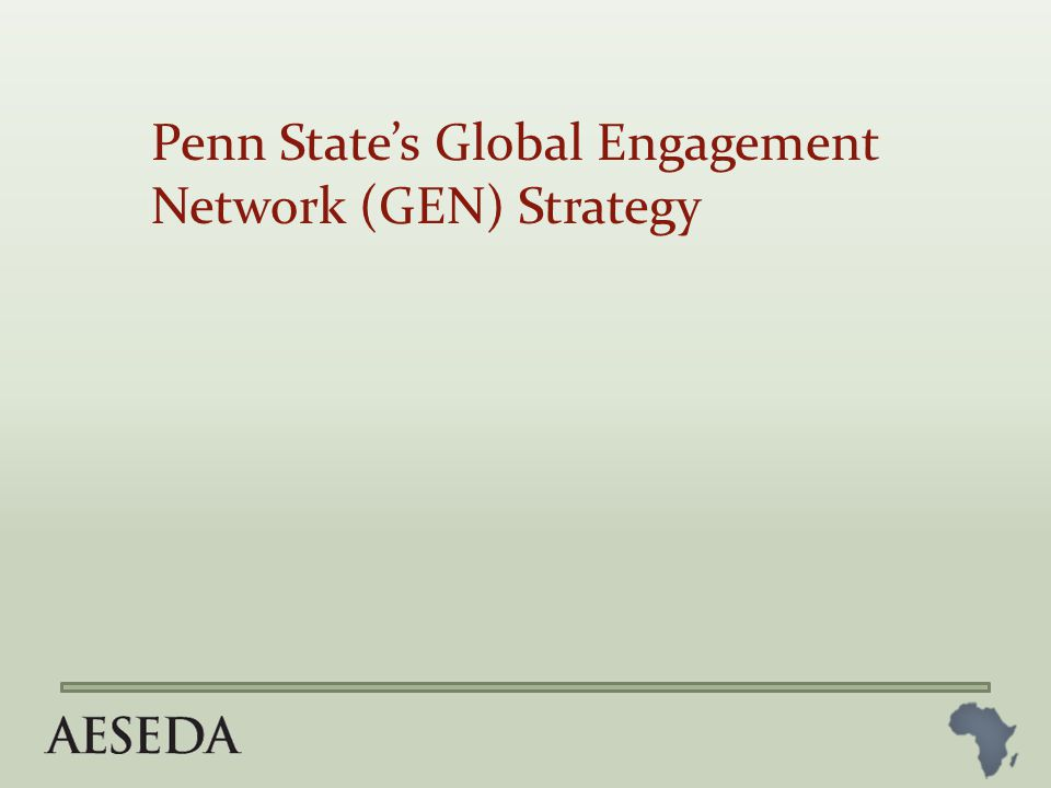 Penn State's Global Engagement Network (GEN) Strategy