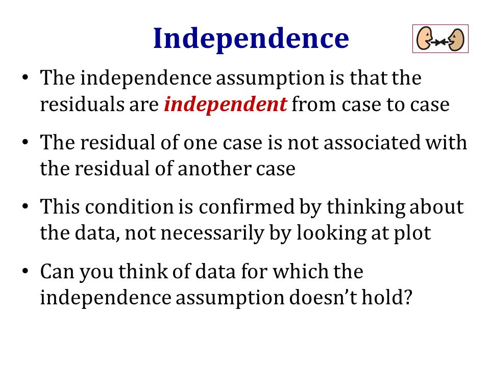 The independence assumption is that the residuals are independent from case to case The residual of one case is not associated with the residual of another case This condition is confirmed by thinking about the data, not necessarily by looking at plot Can you think of data for which the independence assumption doesn't hold.