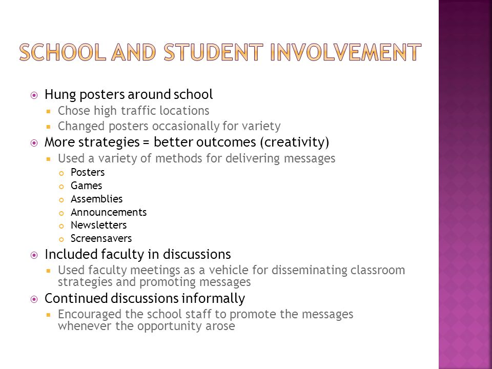  Hung posters around school  Chose high traffic locations  Changed posters occasionally for variety  More strategies = better outcomes (creativity)  Used a variety of methods for delivering messages Posters Games Assemblies Announcements Newsletters Screensavers  Included faculty in discussions  Used faculty meetings as a vehicle for disseminating classroom strategies and promoting messages  Continued discussions informally  Encouraged the school staff to promote the messages whenever the opportunity arose