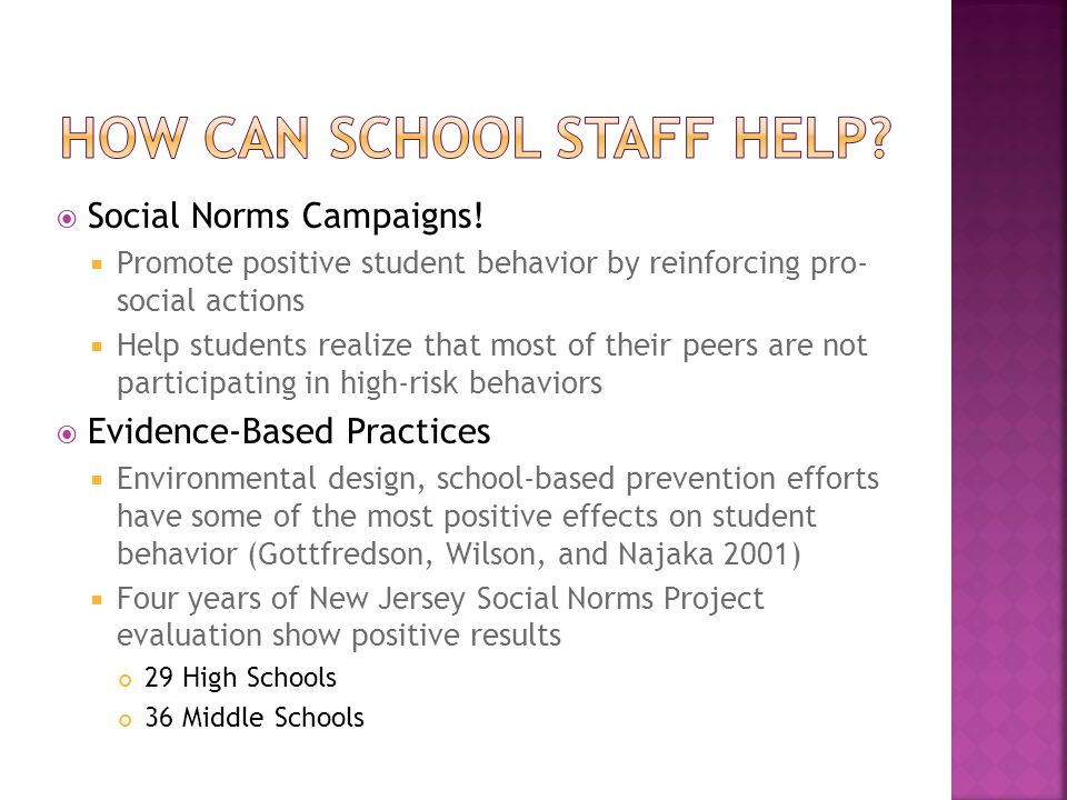  Social Norms Campaigns!  Promote positive student behavior by reinforcing pro- social actions  Help students realize that most of their peers are