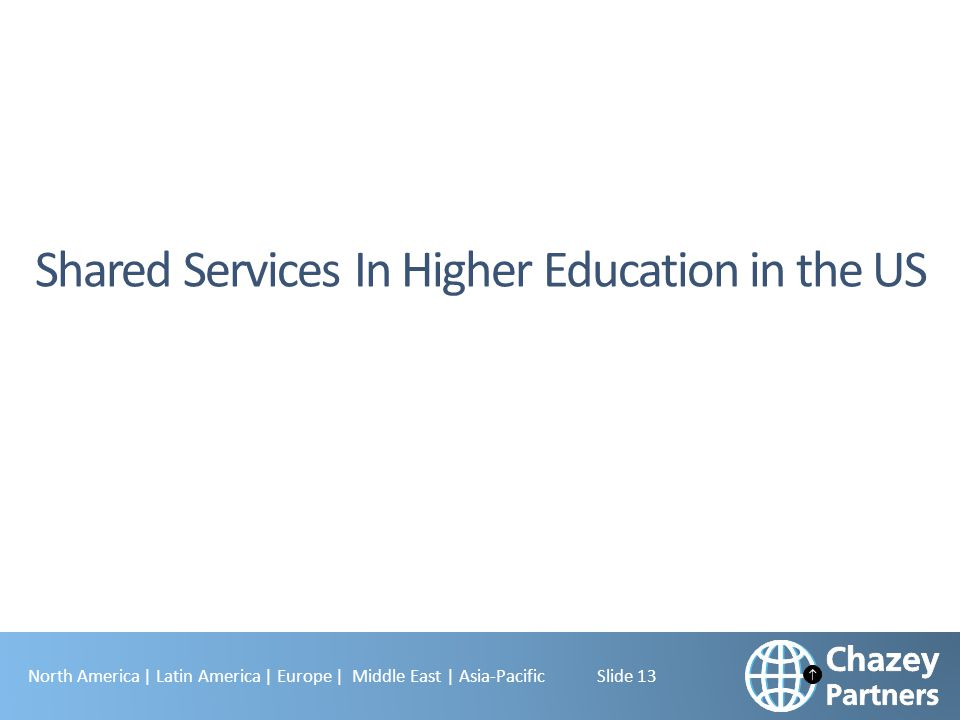 North America | Latin America | Europe | Middle East | Asia-Pacific Slide 13 Shared Services In Higher Education in the US