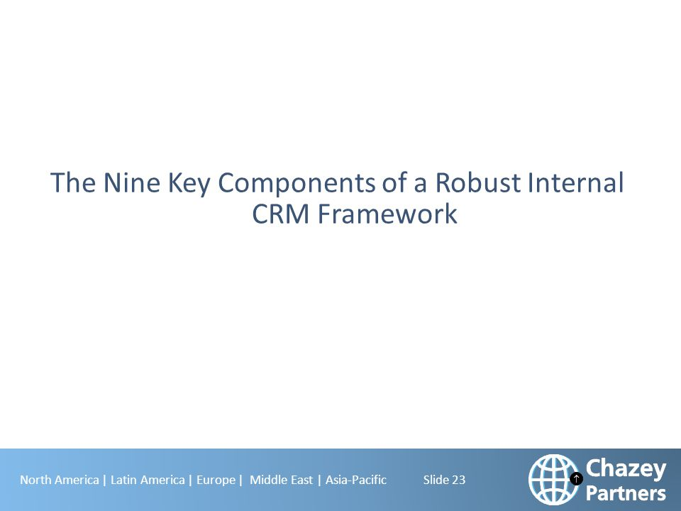 North America | Latin America | Europe | Middle East | Asia-Pacific Slide 23 The Nine Key Components of a Robust Internal CRM Framework
