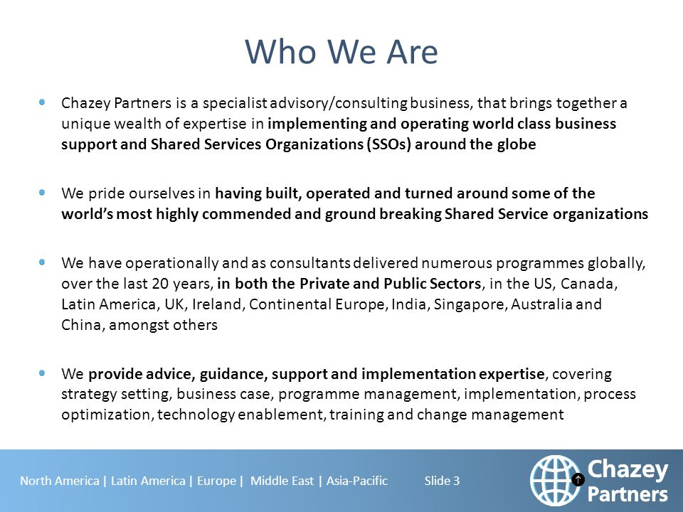 North America | Latin America | Europe | Middle East | Asia-Pacific Slide 3 Who We Are Chazey Partners is a specialist advisory/consulting business, t