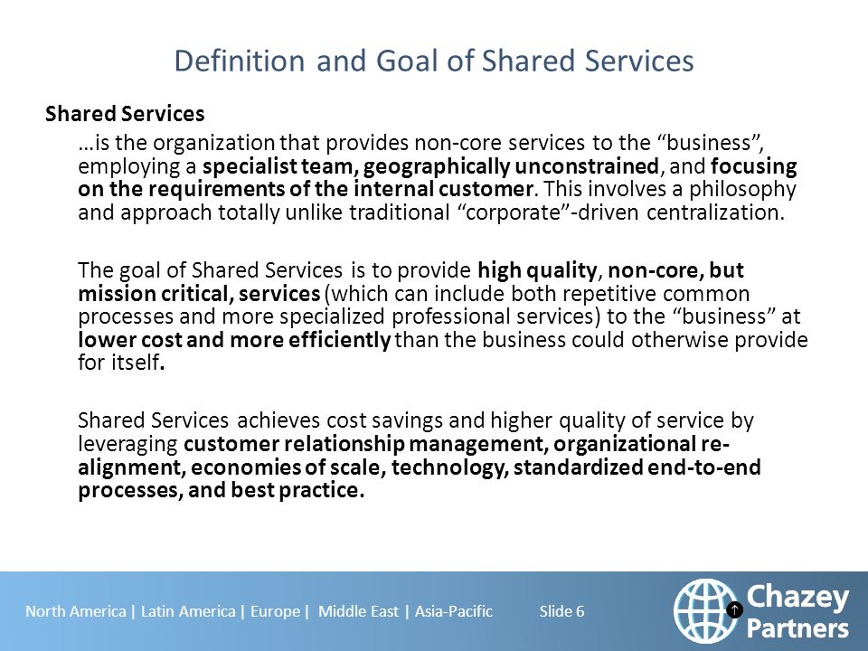 North America | Latin America | Europe | Middle East | Asia-Pacific Slide 6 Definition and Goal of Shared Services Shared Services …is the organizatio