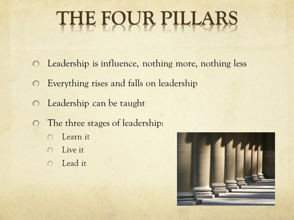 Leadership is influence, nothing more, nothing less Everything rises and falls on leadership Leadership can be taught The three stages of leadership: Learn it Live it Lead it