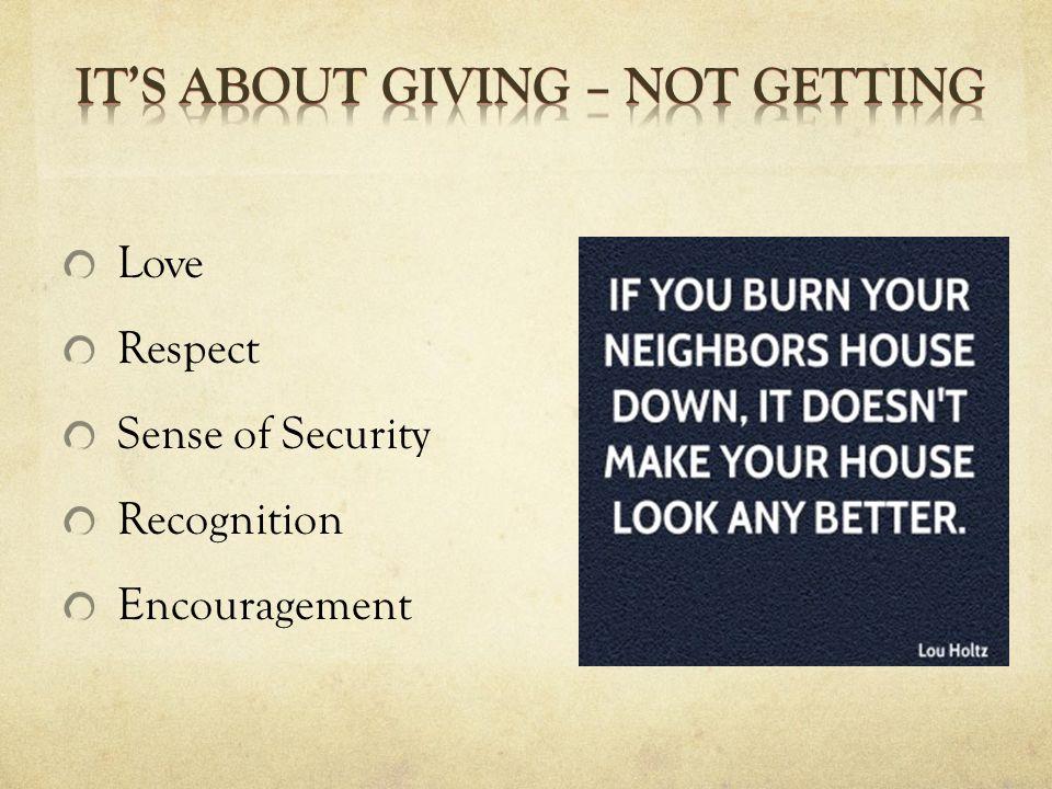 Love Respect Sense of Security Recognition Encouragement