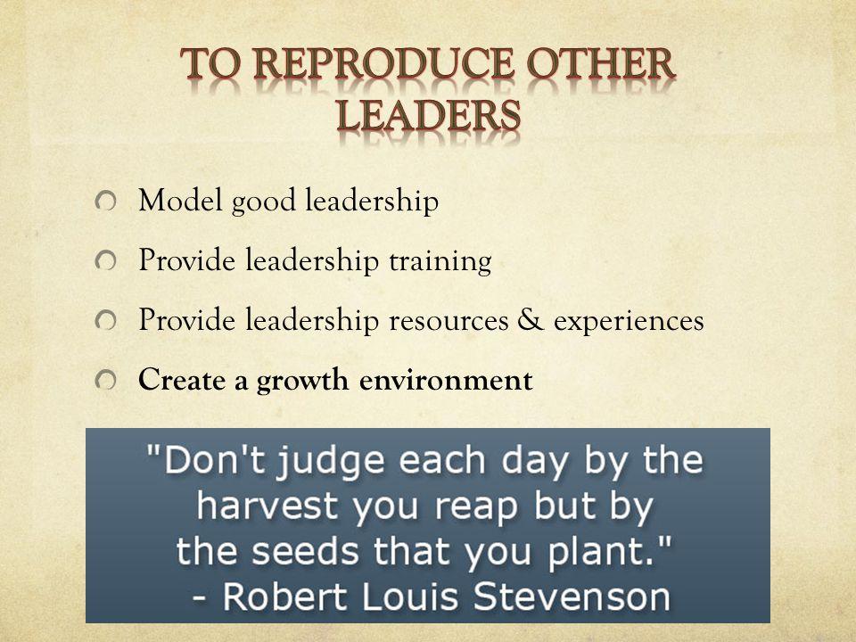 Model good leadership Provide leadership training Provide leadership resources & experiences Create a growth environment