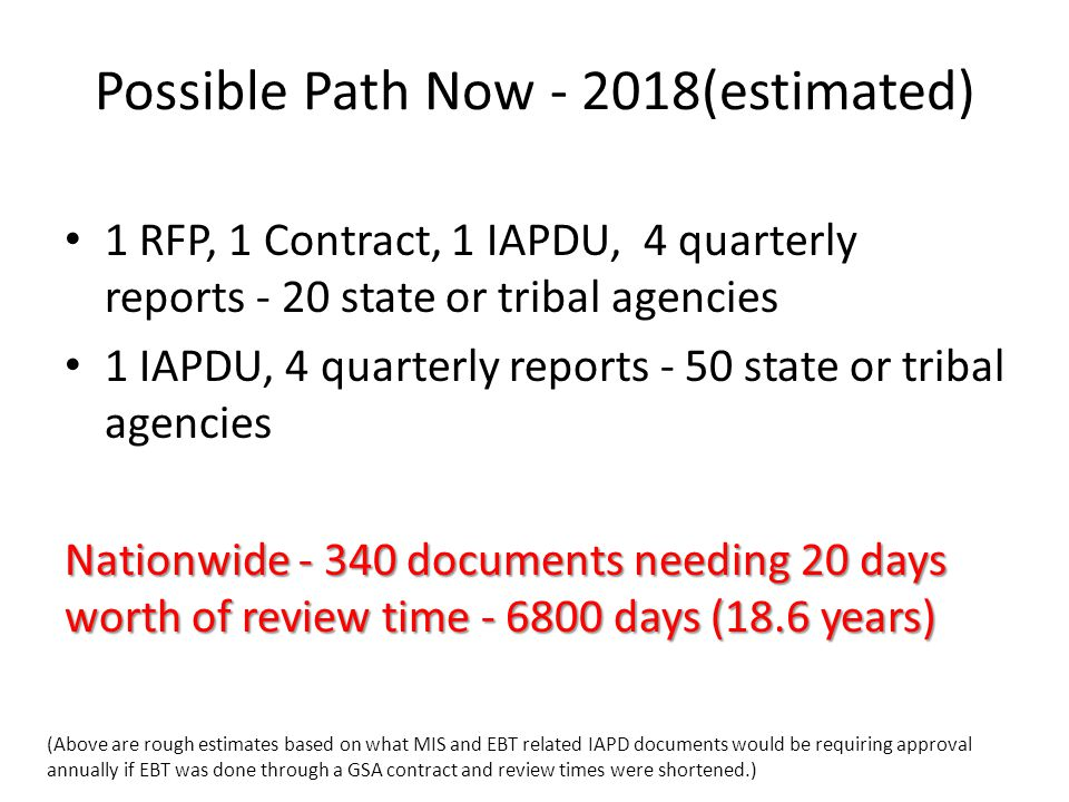 Possible Path Now - 2018(estimated) 1 RFP, 1 Contract, 1 IAPDU, 4 quarterly reports - 20 state or tribal agencies 1 IAPDU, 4 quarterly reports - 50 state or tribal agencies Nationwide - 340 documents needing 20 days worth of review time - 6800 days (18.6 years) (Above are rough estimates based on what MIS and EBT related IAPD documents would be requiring approval annually if EBT was done through a GSA contract and review times were shortened.)