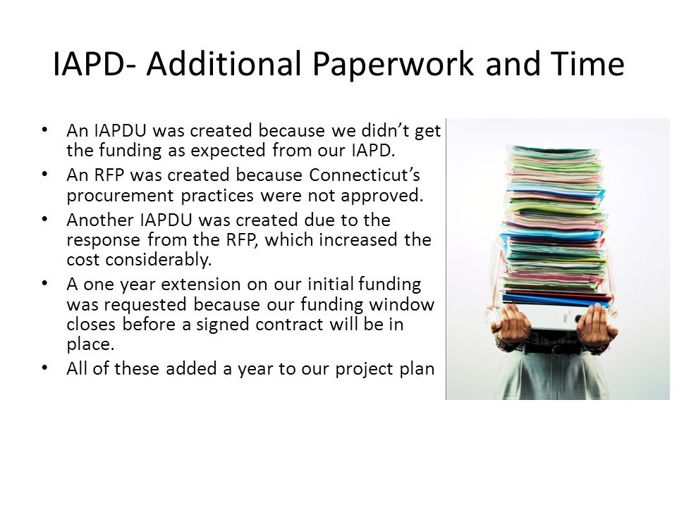 IAPD- Additional Paperwork and Time An IAPDU was created because we didn't get the funding as expected from our IAPD.