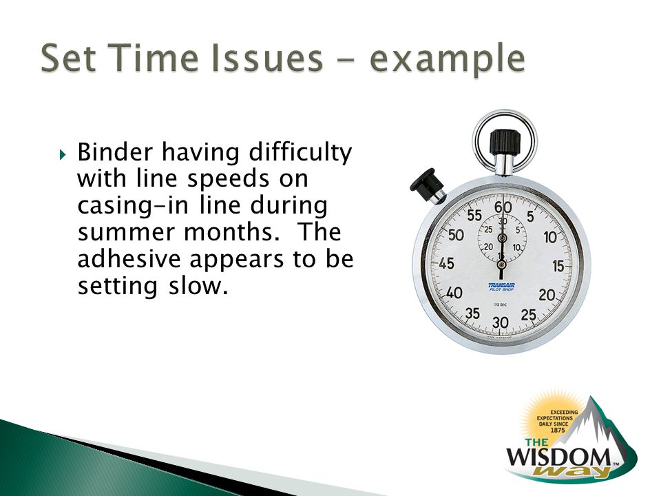  Binder having difficulty with line speeds on casing-in line during summer months.