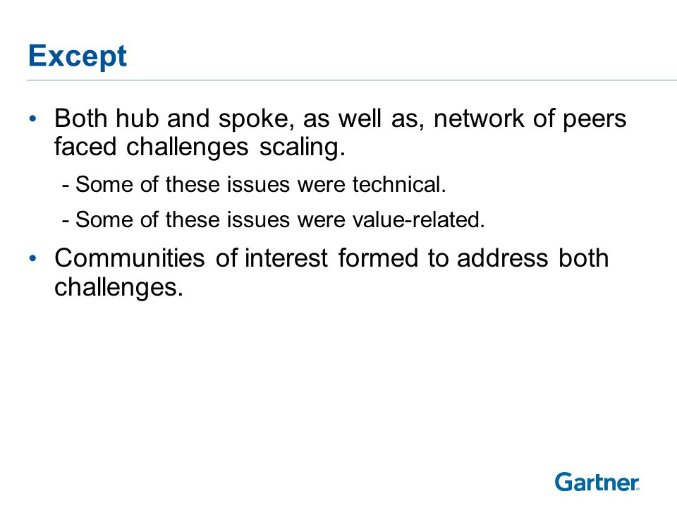 Except Both hub and spoke, as well as, network of peers faced challenges scaling.