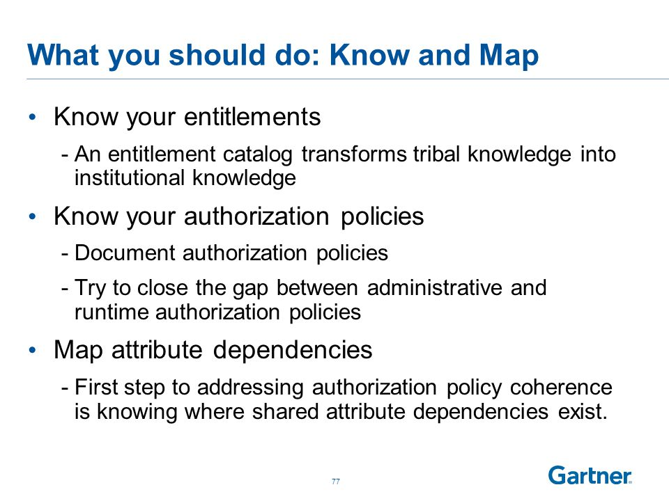 What you should do: Know and Map Know your entitlements -An entitlement catalog transforms tribal knowledge into institutional knowledge Know your aut