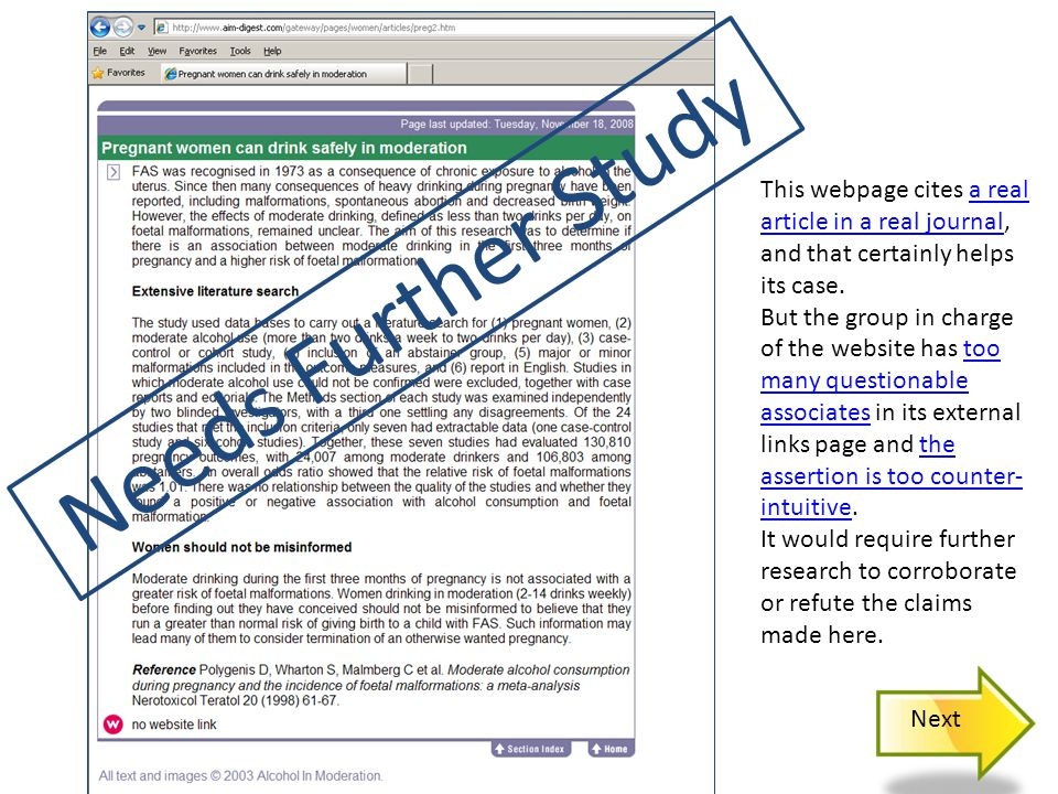 Needs Further Study This webpage cites a real article in a real journal, and that certainly helps its case.a real article in a real journal But the group in charge of the website has too many questionable associates in its external links page and the assertion is too counter- intuitive.too many questionable associatesthe assertion is too counter- intuitive It would require further research to corroborate or refute the claims made here.