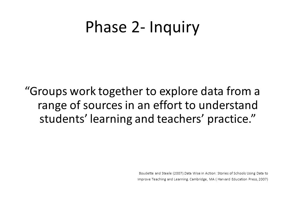 Phase 2- Inquiry Groups work together to explore data from a range of sources in an effort to understand students' learning and teachers' practice. Boudette and Steele (2007).Data Wise in Action: Stories of Schools Using Data to Improve Teaching and Learning.