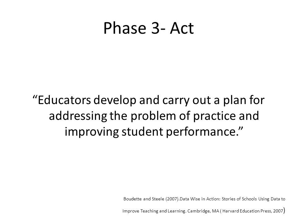 Phase 3- Act Educators develop and carry out a plan for addressing the problem of practice and improving student performance. Boudette and Steele (2007).Data Wise in Action: Stories of Schools Using Data to Improve Teaching and Learning.