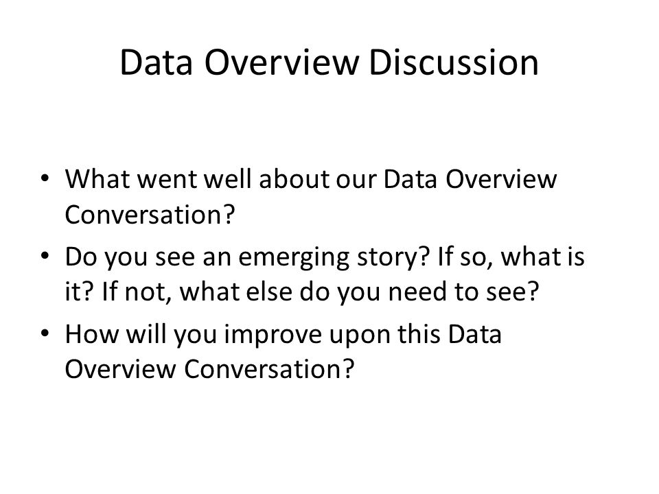 Data Overview Discussion What went well about our Data Overview Conversation.