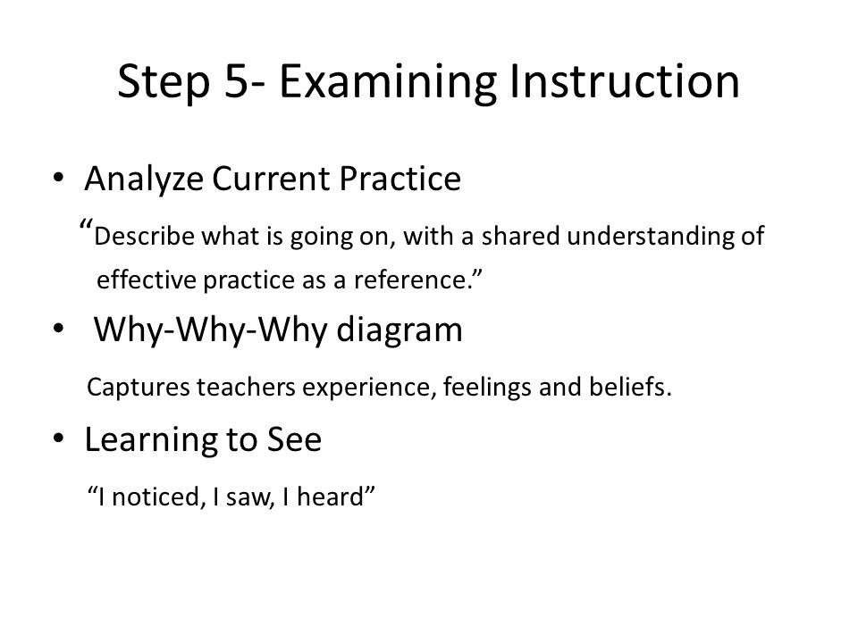 """Step 5- Examining Instruction Analyze Current Practice """" Describe what is going on, with a shared understanding of effective practice as a reference."""""""