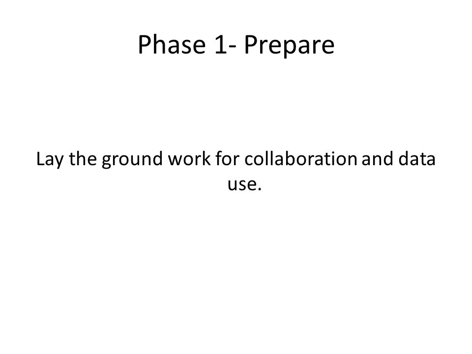 Phase 1- Prepare Lay the ground work for collaboration and data use.