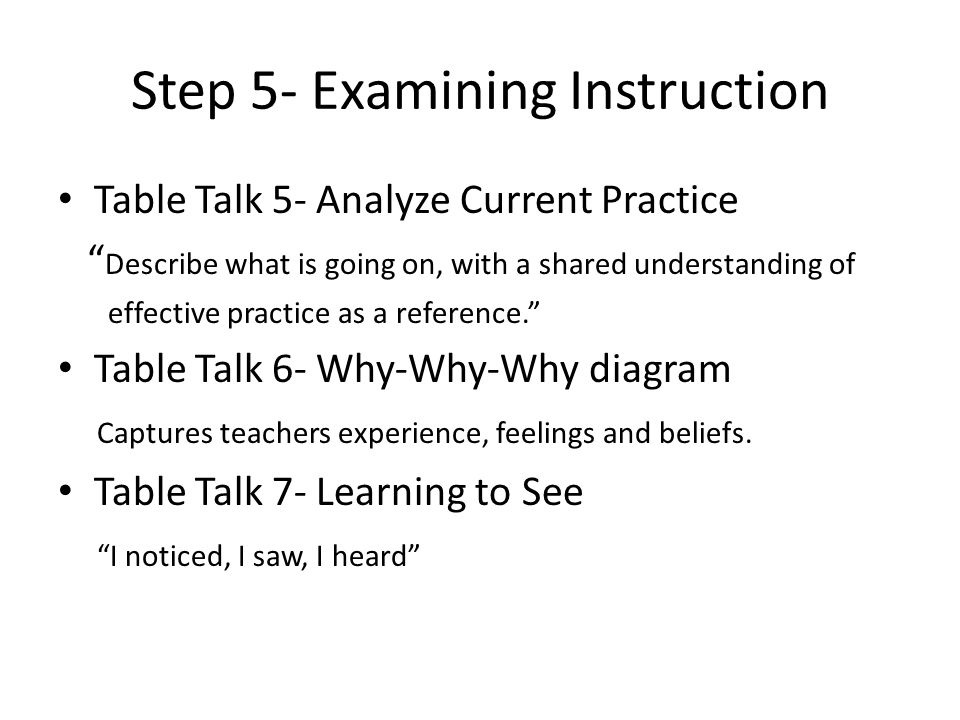 Step 5- Examining Instruction Table Talk 5- Analyze Current Practice Describe what is going on, with a shared understanding of effective practice as a reference. Table Talk 6- Why-Why-Why diagram Captures teachers experience, feelings and beliefs.