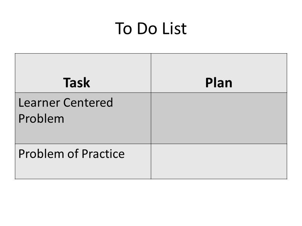 To Do List TaskPlan Learner Centered Problem Problem of Practice