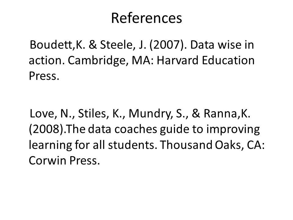 References Boudett,K. & Steele, J. (2007). Data wise in action. Cambridge, MA: Harvard Education Press. Love, N., Stiles, K., Mundry, S., & Ranna,K. (