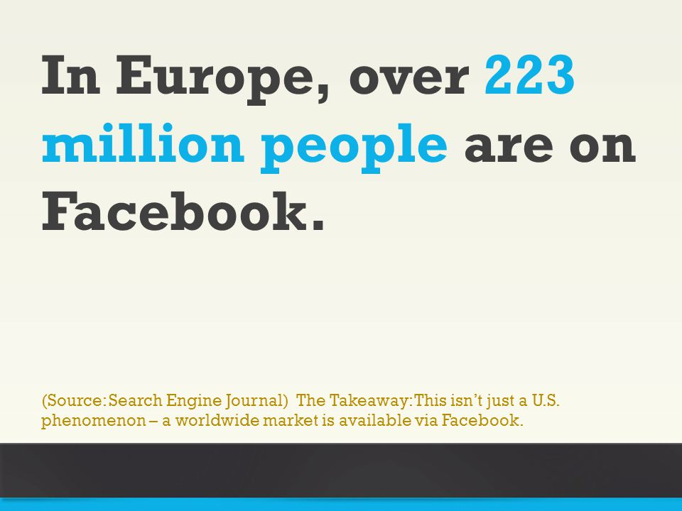 In Europe, over 223 million people are on Facebook.