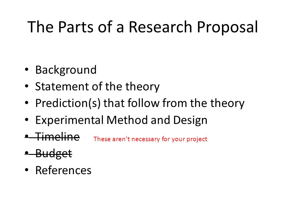 The Parts of a Research Proposal Background Statement of the theory Prediction(s) that follow from the theory Experimental Method and Design Timeline Budget References L These aren't necessary for your project