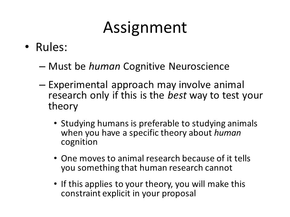 Assignment Rules: – Must be human Cognitive Neuroscience – Experimental approach may involve animal research only if this is the best way to test your theory Studying humans is preferable to studying animals when you have a specific theory about human cognition One moves to animal research because of it tells you something that human research cannot If this applies to your theory, you will make this constraint explicit in your proposal L