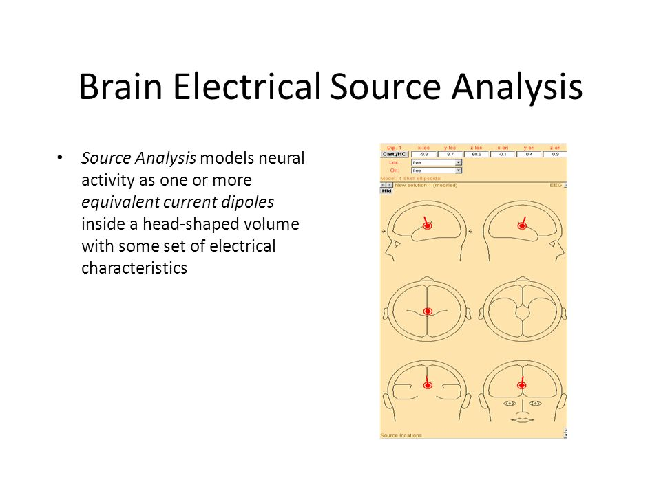 Brain Electrical Source Analysis Source Analysis models neural activity as one or more equivalent current dipoles inside a head-shaped volume with some set of electrical characteristics