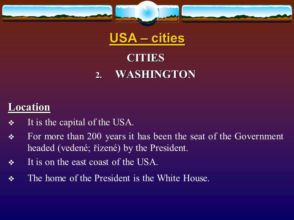 Způsob využití: Způsob využití: určeno pro výklad a procvičení základních znalostí o hlavních velkoměstech Spojených států amerických.